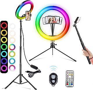 10 tums ringlampa med stativstativ och 2 telefonhållare, 26 RGB-färger dimbar LED-ringlampa med Bluetooth-fjärrkontroll fö...