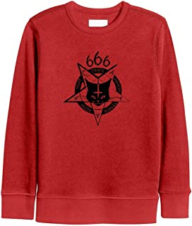 Kids Boys Satanic Cat Design 666 Goth Black Sweatshirt Stylish Crewneck Kids Hoodies