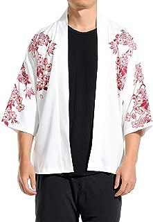 Men Kimono Cardigan Japanese Noragi Jacket Yukata Coat Ukiyoe Baggy Tops