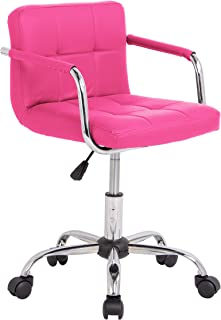 Neo® Silla de escritorio acolchada de piel sintética con patas cromadas, giratorias, ajustable (rosa)