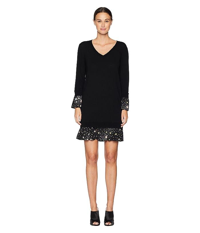 Boutique Moschino Merino Wool Dress with Star Print Detail (Black) Women