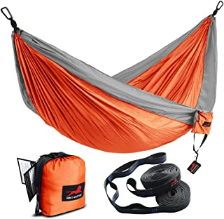 HONEST OUTFITTERS Double Camping Hammock with Hammock Tree Straps, Portable Parachute Nylon Hammock for Backpacking Travel 118L x 78W Inches Orange/Grey