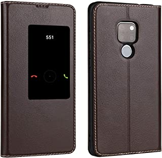 Leather Case Compatible with Huawei Mate 20, Genuine Leather Ultra Thin Flip Window View Stand Feature Case Cover Phone case (Color : Brown)