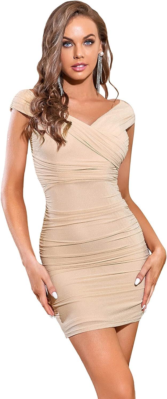 Ever-Pretty Women's V Neck Off Shoulder Bodycon Short Glitter Pleated Evening Dress 0114