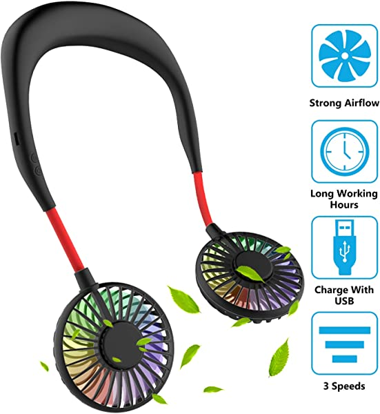 Hand Free Mini USB Personal Fan Rechargeable Portable Headphone Design Wearable Neckband Fan 3 Level Air Flow 7 LED Lights 360 Degree Free Rotation Perfect For Sports Office And Outdoor Black