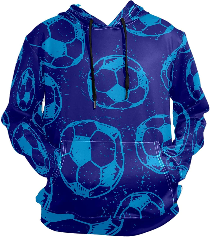 Men's Sport Hoodie Blue Soccer Football Big and Tall Hoodies for Men Women Oversized Hooded Sweatshirt Hip Hop Pullover Hoodie Midweight Hood for Boys Girls