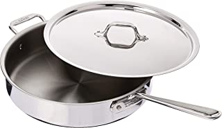 All-Clad 4405 Stainless Steel Tri-ply Saute Pan with Lid Cookware, 5-Quart, Silver (Renewed)