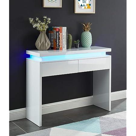 BAÏTA Cosmos Console à LED, Blanc laqué, 100cm