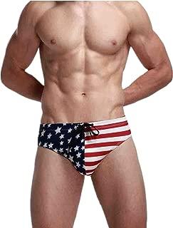 Swim Trunk Sexy American Flag Print Bikini Briefs Beachwear Drawstring Shorts Underpants