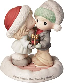 Precious Moments Warm Wishes and Holiday Kisses Bisque Porcelain 181014 Figurine, One Size, Multi