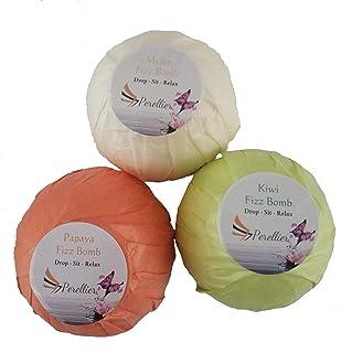 Bath Bombs Set - 3 Extra Large 180g Fizz Bath Bombs. Kiwi, Papaya and Melon fragrances. Ultra Plush Essential Oil Handmade...