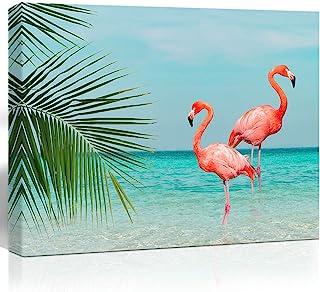 Purple Verbena Art Flamingo in Water Pictures Canvas Print Art Sea Ocean Pink Animals Painting Artwork Home Wall Art Decor...