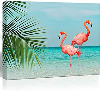Purple Verbena Art Flamingo in Water Pictures Canvas Print Art Sea Ocean Pink Animals Painting Artwork Home Wall Art Decor for Living Room Bedroom Bathroom Walls Decoration,12x16 inches Picture Frame