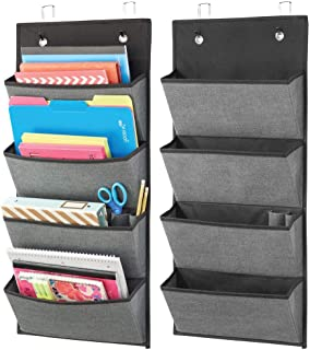 mDesign Soft Fabric Over Door Hanging Home Office Storage Organizer, 4 جيوب متتالية كبيرة - تحمل لوازم المكتب والنسخ وملفا...