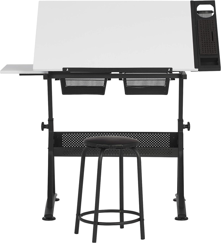 Studio Designs Fusion Craft Station, Metall, anthrazit schwarz wei, 122x 61x 90cm