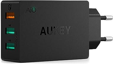 AUKEY Quick Charge 3.0 Cargador Móvil 3 Puertos 43,5W Cargador de Pared  para Samsung Galaxy S9/ S8 / Note 8, LG, HTC, iPhone XS / XS Max / XR, iPad Pro / Air, Moto G4 y más