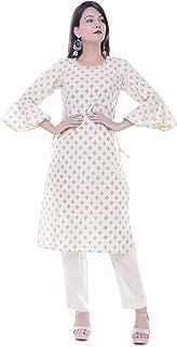 Shine Creation Cream cotton boota print straight kurti with bell sleeves. TCS-18