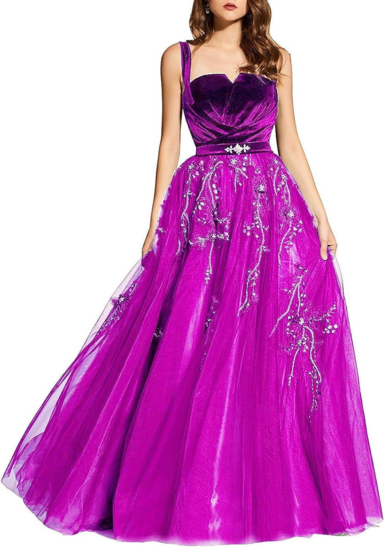 XSWPL Womens Straps A Line Prom Dresses Velvet Top Appliques Party Dress