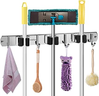Braoses Broom Mop Organizer, Mop Broom Holder Wall Mount Tool Rack Organizer Garden Tool with 3 Unit Clap and 4 Utility Hooks