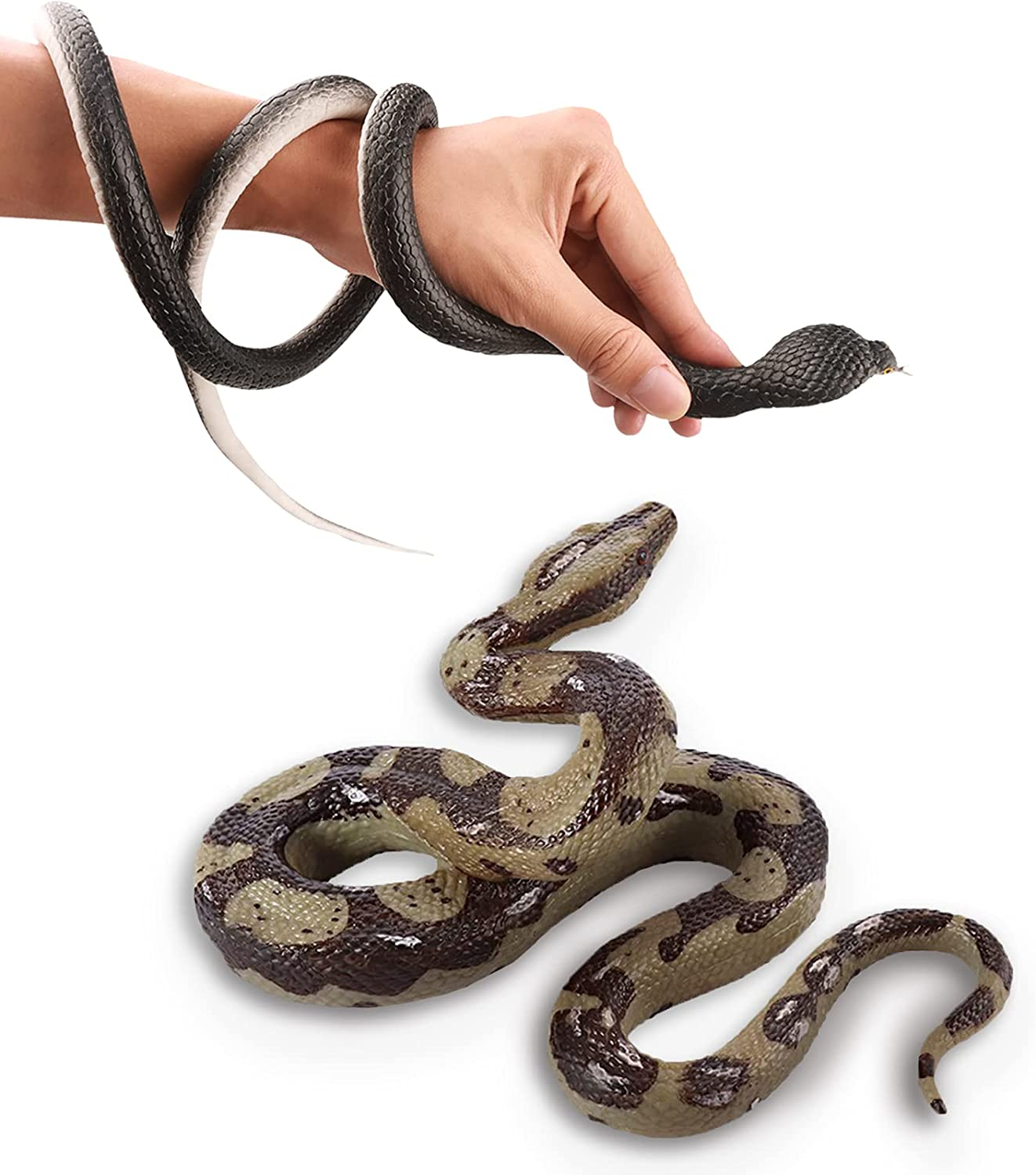 Monyus 2 Pack Realistic Rubber Snake Toys, 6 inch Prank Props and 47 inch Lifelike Wildlife Fake Snake for Halloween Party Scary Gift