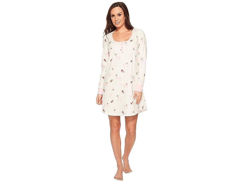 BedHead Long Sleeve Stretch Knit Henley Night Shirt (Strawberries Champagne) Women