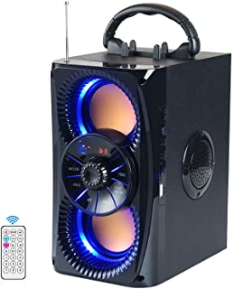 Bluetooth Speakers, Portable Wireless Speaker with Lights, Double Subwoofer Heavy Bass, FM Radio, SD Player, Remote, Suita... photo