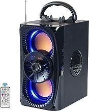 دستگاه قابل حمل بلوتوث کارائوکه System سیستم بلندگوی بی سیم در فضای باز با چراغ هایی با باس سنگین با دو ساب ووفر ، پشتیبانی از رادیو FM MP3 Player از راه دور AUX EQ و غیره