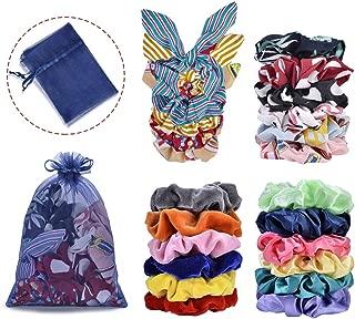 22pcs Hair Scrunchies,Cehomi Chiffon & Satin & Velvet Elastic Hair Bands Scrunchie Hair Ties Ropes Hair Bow Chiffon Ponytail Holder for Women and Laides