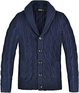 BOTVELA Men's Cable Knit Shawl Collar Casual Cardigan Sweater with Buttons and Pockets