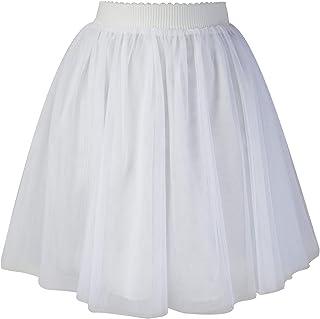 SYEEGCS Falda Mini Corta de Tul para Mujer Elegante Fiesta Boda Princesa Cintura Elástica 3 Capas