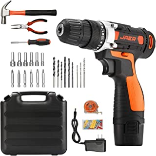 Jaer Cordless Power Drill and Home Tool Kit, Set with 3/8 Inches Keyless Chuck 28 Pcs Screwdriver Bits
