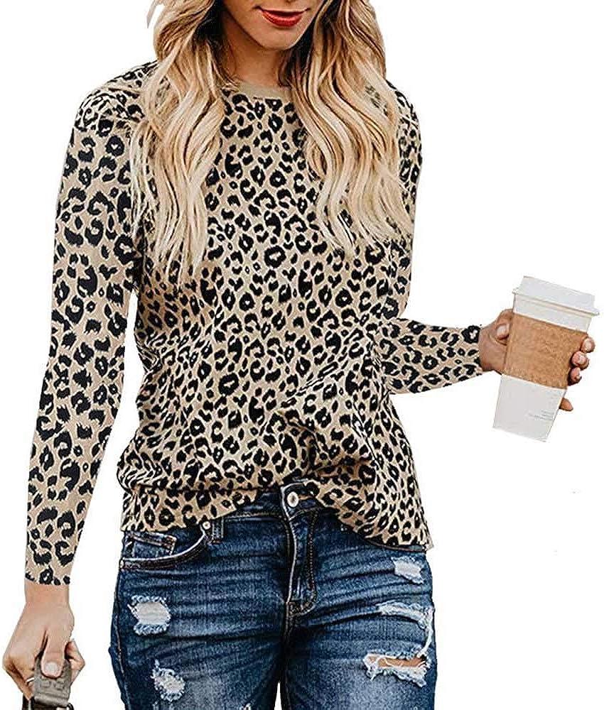 EDSTAR Womens Leopard Print Round Neck Long Sleeve Shirts Causal Blouses Tops