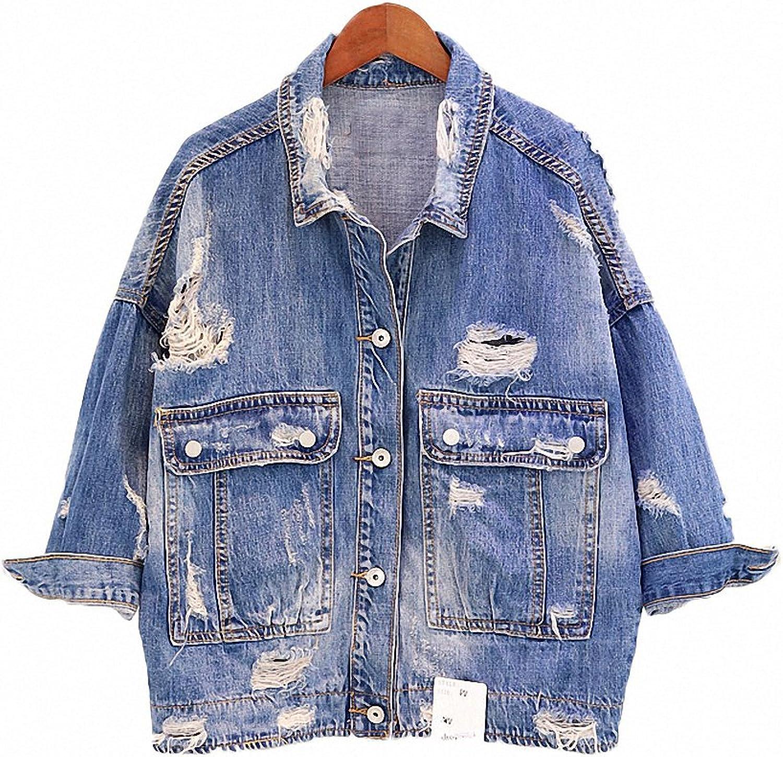 Hiuwa Womens Denim Jacket Casual Hole Oversize Vintage Top