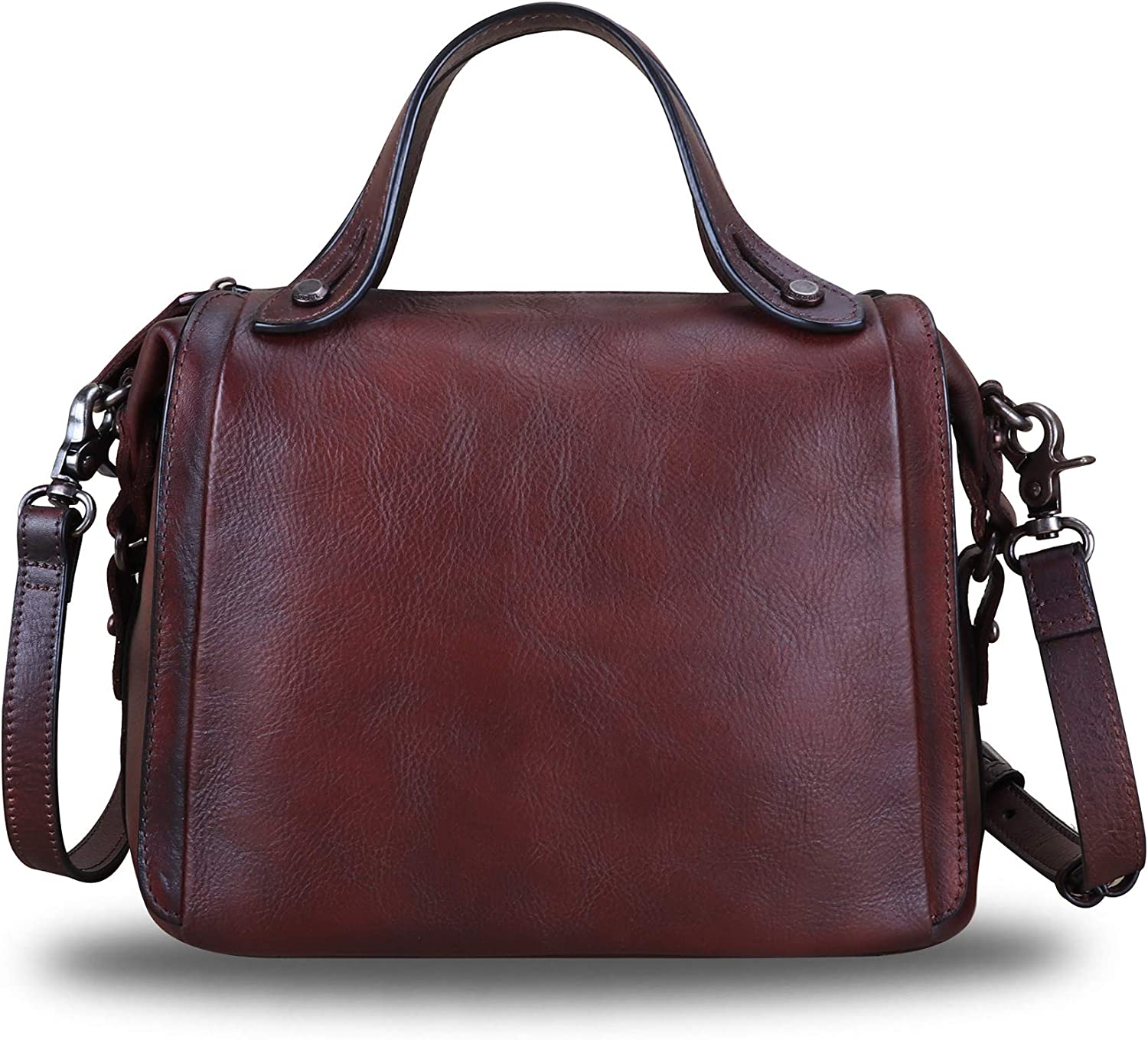 Genuine Leather Satchel Purse Max 73% OFF for Handmade Top Super Special SALE held Handl Women Retro