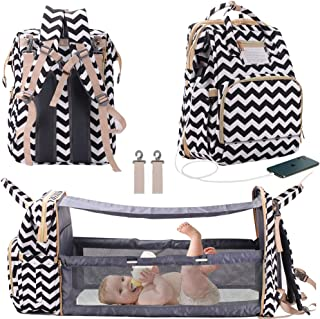 3 in 1 Travel Bassinet Foldable Baby Bed, Diaper Bag Backpack Changing Station, Large Capacity, Waterproof, USB Charging Port (Black & White Wave)