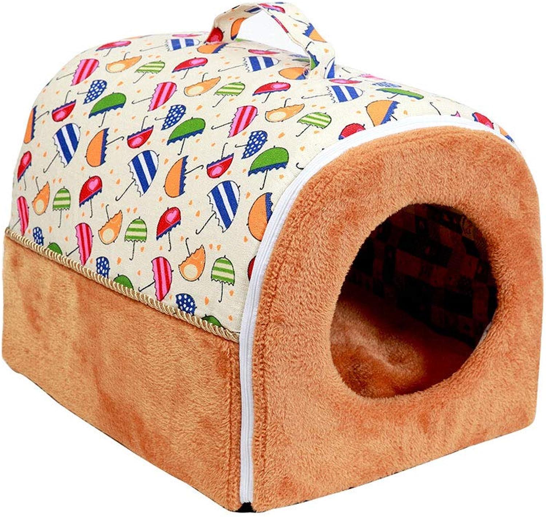 2in1 Pet House Portable Sofa NonSlip Dog Cat Beds Warm Pet Nest Washable Basket Mat Cushion Pet Supplies (color   A, Size   Medium)