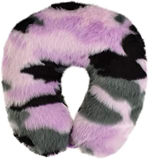 "iscream Orchid Dusk Camo Plush Furry 12"" Neck Support Pillow"