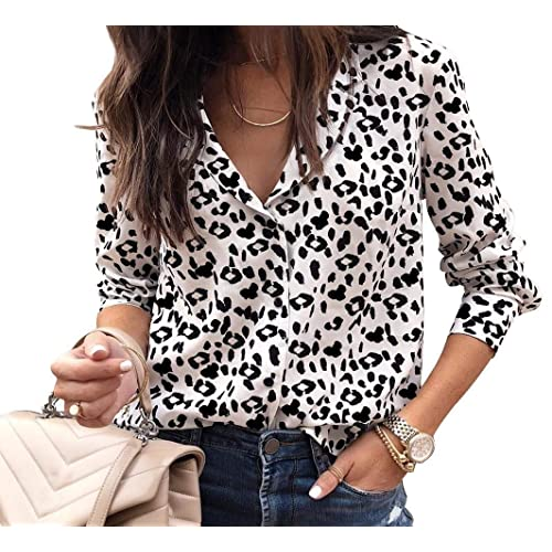 29c20f9594501 Women s Casual Deep V Neck Long Sleeve Tops Button Down Shirt Leopard Print  Blouse Tunic Plus