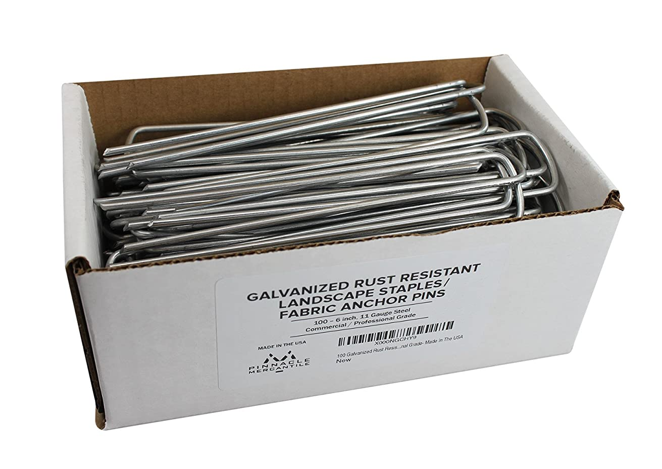 Pinnacle Mercantile 6inch 100 Galvanized Garden Landscape Staples Fabric Anchor Pins Anti Rust 6 inch Strong 11 Gauge Steel