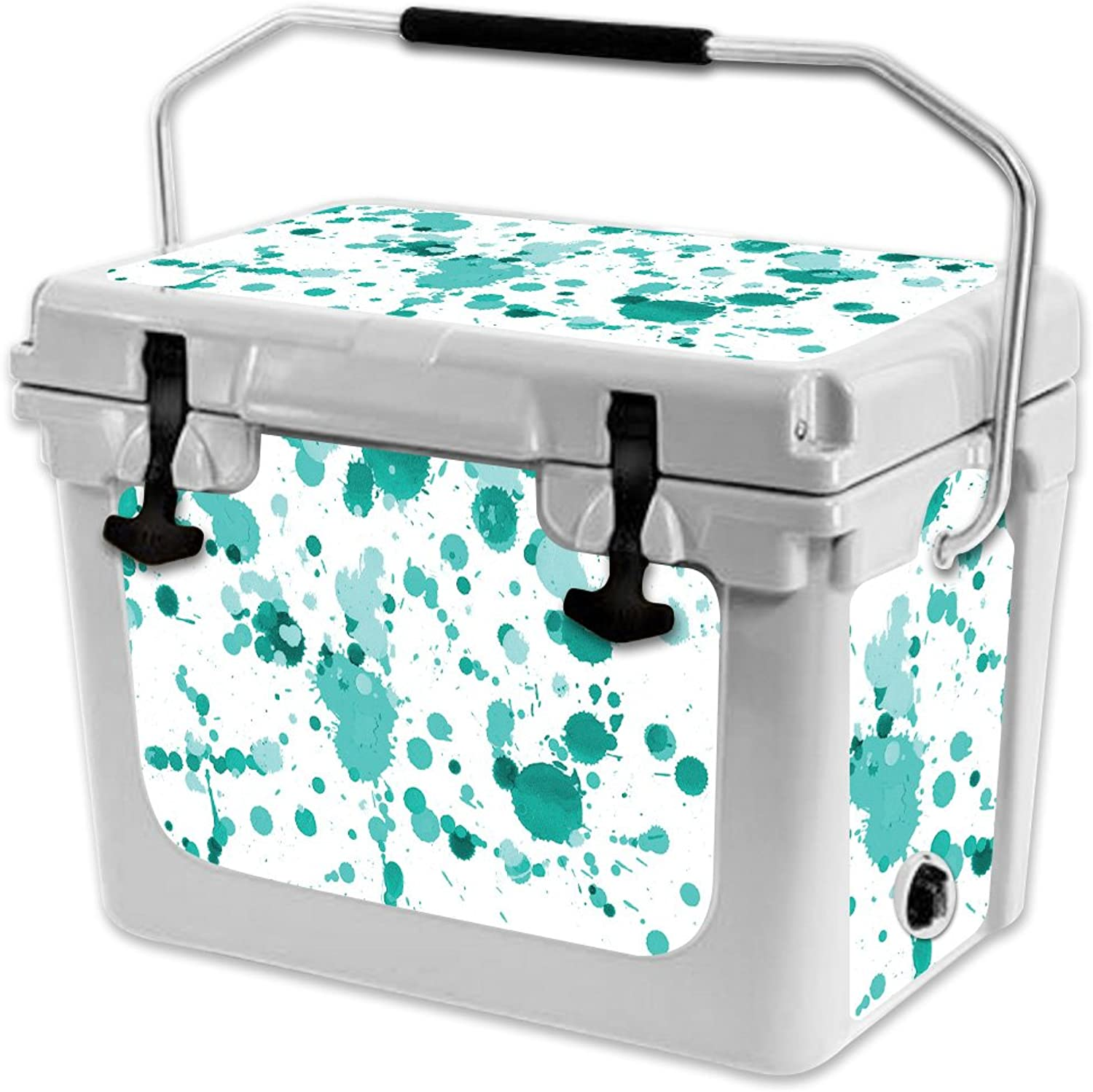 MightySkins Skin Compatible with RTIC 20 Cooler (2017 Model)  Teal Splatter   Predective, Durable, and Unique Vinyl Decal wrap Cover   Easy to Apply, Remove, and Change Styles   Made in The USA
