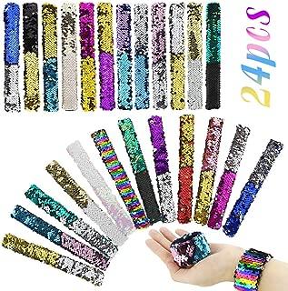 HEHALI 24pcs Mermaid Slap Bracelet 2 Colors Reversible Charm Bracelets Magic Sequins Flip Wristband Bracelets for Birthday Party Favors