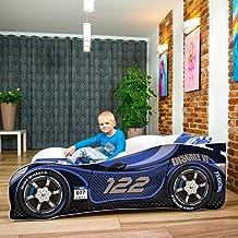 iGLOBAL Kinderbett Zig Zag McQueen Jugendbett Juniorbett Bett mit Stellage Schaumstoffmatratze 140x70 cm