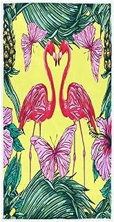 MNSRUU - Toallas de mano con diseño de flamenco, color rosa, con mariposas y hojas de palma, para baño, 76 x 15 cm
