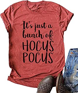 It's Just A Bunch of Hocus Pocus Halloween T-Shirt Short Sleeve Sanderson Sisters Graphic Tee for Women