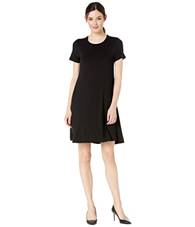 Three Dots Refined Jersey Short Sleeve Crew Neck Float Dress (Black) Women