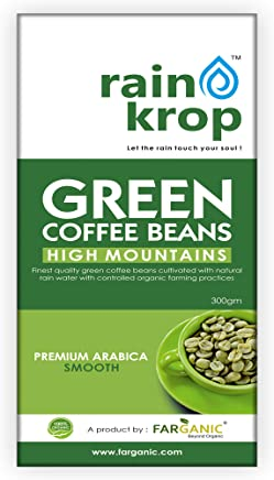 Rainkrop Green Coffee beans for weight loss. 300 Gram. Organic Arabica Green Coffee beans cultivated with natural rain water from high mountains