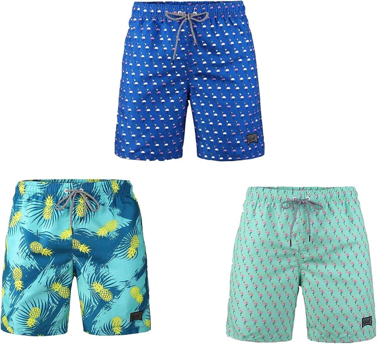 Beautiful Giant 3-PC Pack Men's Board Shorts with Pockets Vacation Hawaiian Soft Comfy Waterproof Swim Pants