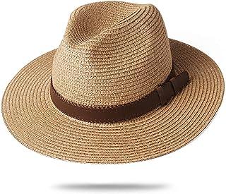 FURTALK Panama Hat Sun Hats for Women Men Wide Brim Fedora Straw Beach Hat UV UPF 50