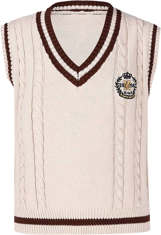 Freebily Unisex Boys Girls Knitted Sweater Vest V-Neck Casual College Style Sweaters Waistcoat Sleeveless Warm Coat