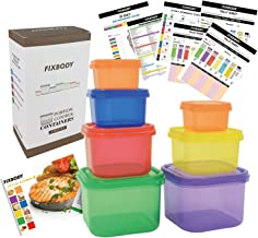 FIXBODY Portion Control Containers, Color-Coded Labeled, 7 Pieces, 21 Day Lose Weight System (Use Guide, 21 Day Tracker an...